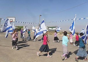 Migron children preparing for Israel's Independence Day. Photo: Anav Silverman, / Tazpit News Agency.