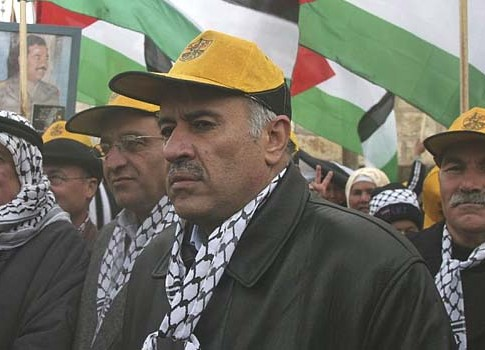Jibril Rajoub and Palestinian supporters of the Fatah movement marking their 42nd anniversary, back in 2007.