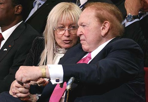 American billionaire businessman Sheldon Gary Adelson and his wife Miriam.