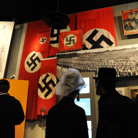 Ultra Orthodox men visiting the Yad Vashem Holocaust memorial museum in Jerusalem