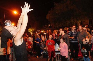 A street performer at a festival on Emek Refaim street in the center of Jerusalem