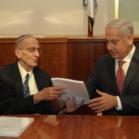 Prime minister Benjamin Netanyahu receives the Levy Report from retired judge Edmond Levy
