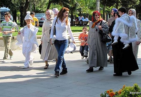A pre-circumcision family outing, on their way to the to Eyup Mosque in Istanbul.