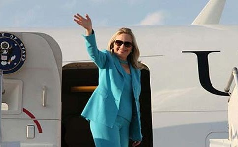 Secretary of State Hillary Rodham Clinton in transit.
