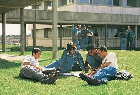 Students at the Ariel University campus.