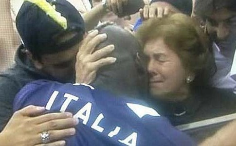Italy's striker Mario Balotelli hugging his Jewish mother after bringing Germany to its knees last week.