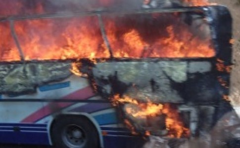 bulgaria burning bus