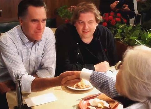 Candidate Romney at a diner with potential voter. There will be no dinner at his Tisha B'Av fundraiser in Jerusalem.