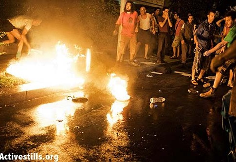 A man set himself on fire at the end of social justice march in Tel Aviv.