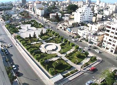 An aerial view of Gaza City.