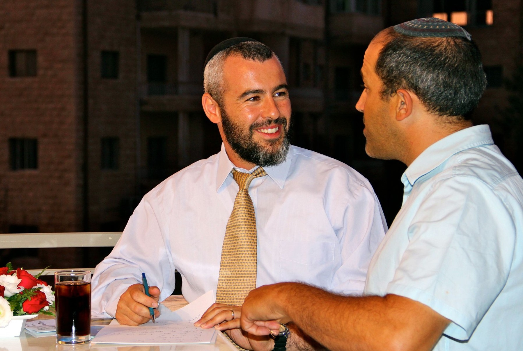Yishai Fleisher and Aryeh King discussing Jerusalem