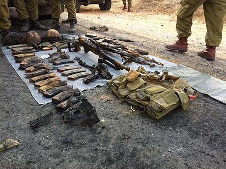 Some of the weapons and supplies captured Sunday night.