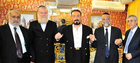 Left to right: a mission of good will with MK Rabbi Nissim Zeev, Rabbi Ben Abrahamson, Turkish Muslim teacher and author Adnan Oktar, Geneva Chief Rabbi Dr. Izhak Dayan, and Dr. Mordechai Kedar