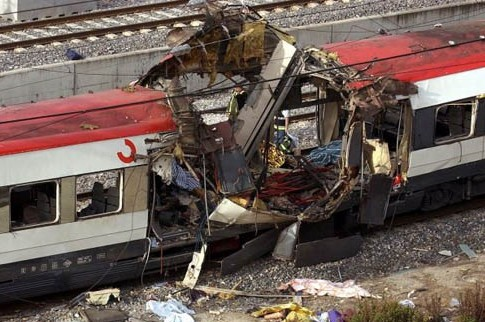 Aftermath of 2004 Madrid train bombing.