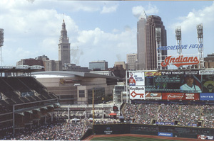 The upper deck first-base side at Cleveland's Progressive Field offers great views of the city's downtown area.