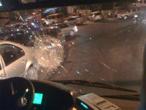 Egged bus #3 hit by Arab stone throwers near the Kotel on August 16th 2012.