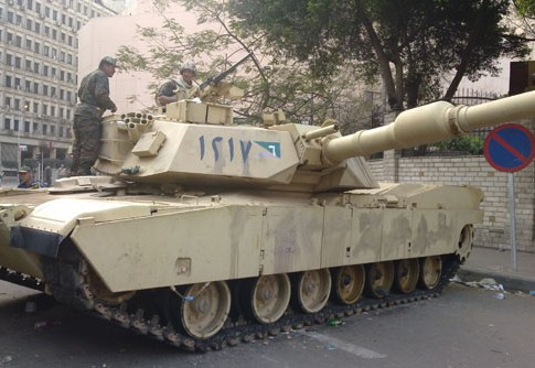 Photo: Egyptian Tank in the streets of Cairo, February 2011 in the aftermath of the 2011 Egyptian Revolution.