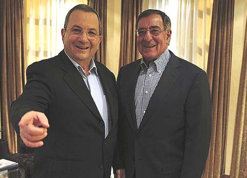 Israel's Defense Minister Ehud Barak (L) met U.S. Secretary of Defense Leon Panetta in Tel Aviv on Tuesday.