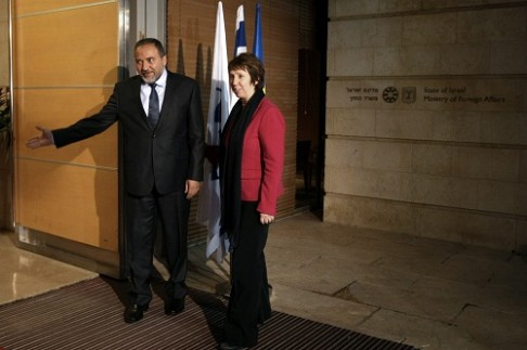 Foreign Minister Avigdor Liberman with EU foreign policy chief Chaterine Ashton