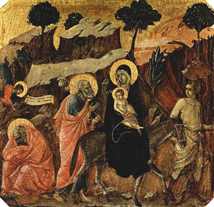 Flight into Egypt, (ca.1311) Tempera on panel by Duccio 