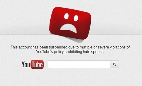 YouTube account suspension