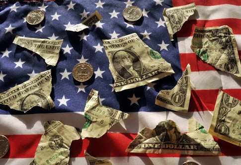 American Flag Ripped Dollar Bills