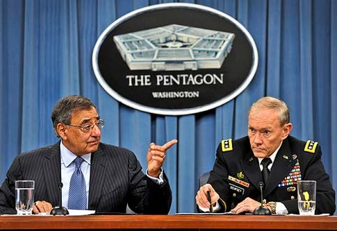 U.S. Defense Secretary Leon Panetta and Chairman of the Joint Chiefs of Staff General Martin Dempsey at Tuesday's press conference.