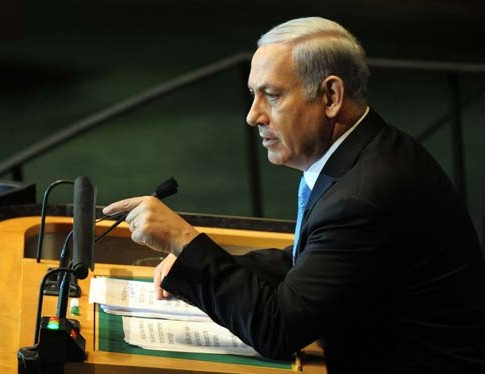 Israeli Prime Minister Benjamin Netanyahu addressing the U.N. General Assembly, Sept. 23, 2011.
