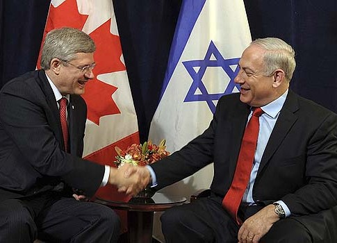 Canadian Prime Minister Stephen Harper meets with Israeli Prime Minister Benjamin Netanyahu at the 67th United Nations General Assembly in New York.
