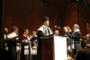 Hershtik at a Holocaust memorial event at Avery Fisher Hall earlier this year.