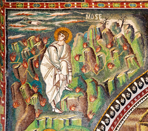 Moses Tending Sheep and at the Burning Bush (548) mosaic at St. Vitale