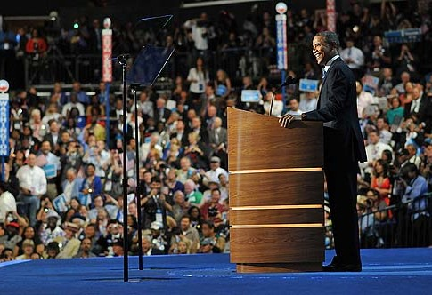President Barack Obama accepting the Democratic nomination Thursday night