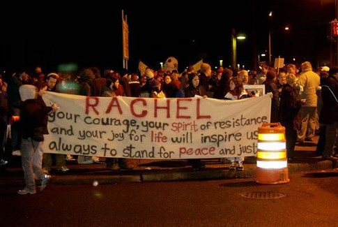 Vigil for Rachel Corrie organized by the anti-Israel International Solidarity Movement.