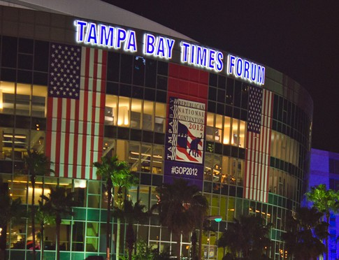 Tampa Bay Times Forum during the 2012 Republican National Convention, Aug. 31, 2012.