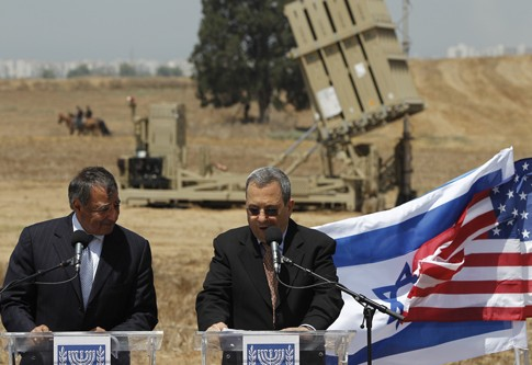 U.S. Secretary of Defense Leon Panetta, left, and Israel's Defense Minister Ehud Barak deliver statements, Aug. 1, 2012.