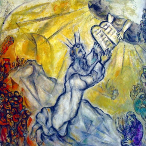 Moses Receiving the Ten Commandments by Marc Chagall.