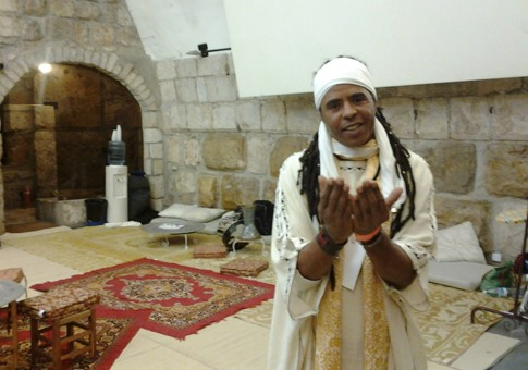 International Gnawan musical artist Hassan Hakmoun in Jerusalem's Tower of David.