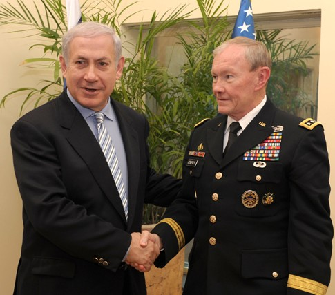 Israeli Prime Minister Benyamin Netanyahu meets with  Chairman of the U.S. Joint Chiefs of Staff General Martin Dempsey in Jerusalem, January 20, 2012.