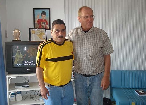 "Franklin Lamb (R), author of ""US Preparing for a Post-Israel Middle East?"" with child murderer Samir Kuntar."