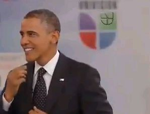 President Obama speaking on Univision.
