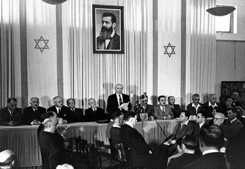 David Ben-Gurion publicly pronounces the Declaration of the State of Israel, May 14 1948, Tel Aviv, Israel.