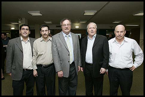 Members of the Jewish Home Party (L. to R.): Nissan Slomianski, Zvulon Orlev, Daniel Hershcowitz, Uri Ochbach and Saar Shalom Djerbi.