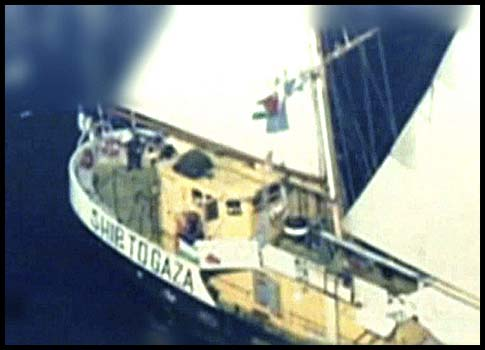 A photograph released by the IDF shows the Swedish-owned, Finnish-flagged boat 'Estelle' near the waters off the Gaza Strip on October 20, 2012. The pro-Palestinian boat was attempting to reach Gaza, in defiance of Israel's blockade of the territory.