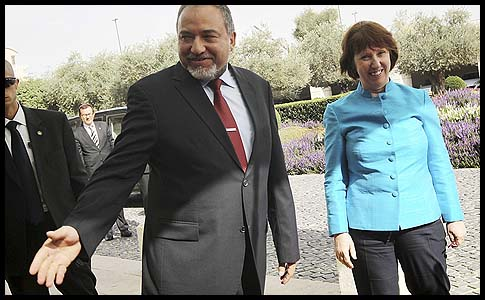 Foreign Minister Avigdor Liberman met with the European Union's Catherine Ashton, October 24, 2012.