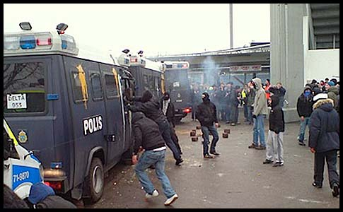 Muslim and leftists thugs attack police at last year's protests of an Israeli player at a Davis Cup tennis match in Malmö, Sweden.