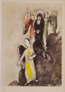 Descent Towards Sodom (1957) hand-colored etching by Marc Chagall