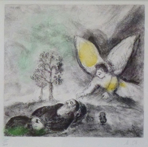 Elijah Touched by an Angel (1957) hand-colored etching by Marc Chagall