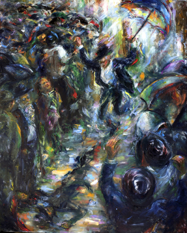 Dancing in the Rain, (30 x 24), Oil on linen by Rosa Katzenelson