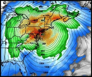 Hurricane Sandy wind modeling from the National Weather Service.