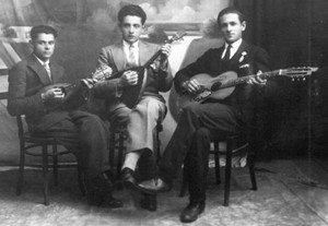 Yehuda (right) with his ensemble in Novogrudek, Byelorussia